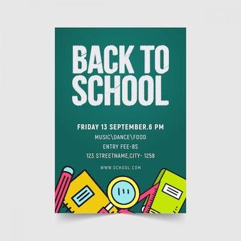 Volta para o design de modelo de panfleto de escola