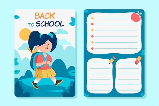 Volta para o estilo de modelo de cartão de escola
