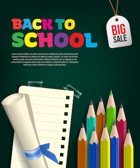 Volta para o folheto de grande venda de escola com rolo de papel