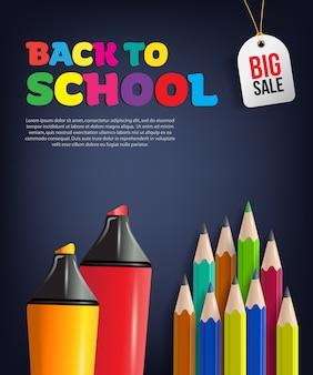 Volta para o folheto de venda de escola com lápis coloridos