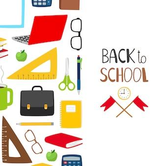Volta para o fundo da escola. banner escolar com artigos de papelaria, livros, óculos