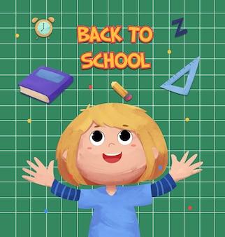 Volta para o fundo da escola com caráter fofo crianças em aquarela