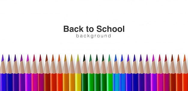 Volta para o fundo da escola com lápis de cor realista