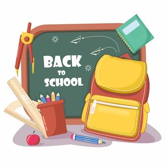 Volta para o fundo da escola com quadro-negro, bolsa, qualquer, régua, design plano