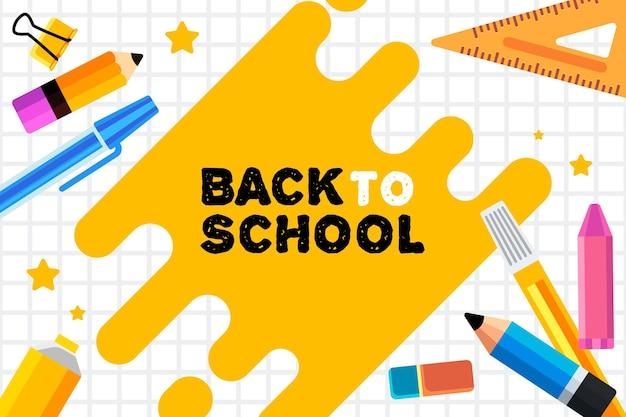 Volta para o fundo da escola em design plano