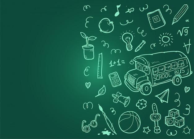 Volta para o fundo do conceito de escola com rabiscos. conselho escolar verde.