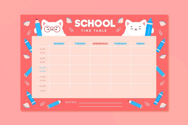 Volta para o horário escolar em design plano