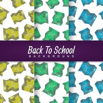 Volta para o mapa-múndi escola tesouro sem costura padrão