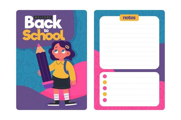 Volta para o modelo de cartão de escola com ilustrações
