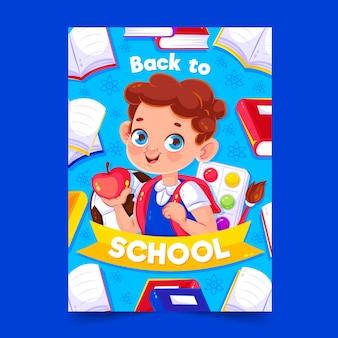 Volta para o modelo de cartão de escola com menino ilustrado
