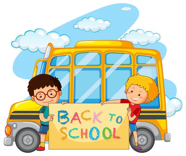 Volta para o modelo de escola com ônibus escolar