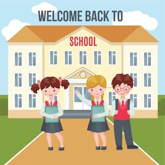 Volta para o modelo de ilustração de escola isolado no branco.