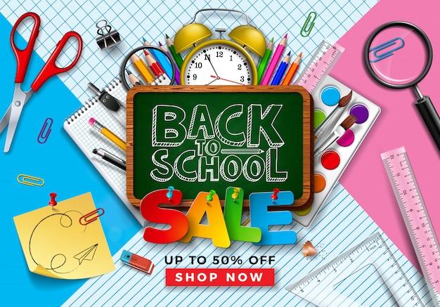 Volta para o projeto de venda de escola com itens de aprendizagem na grelha quadrada e fundo da linha