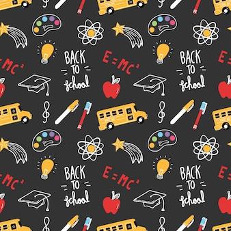 Volta para o tema de escola doodle fundo