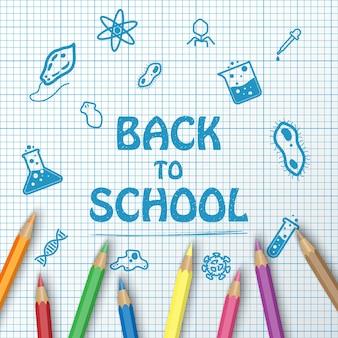 Volta para o texto de escola de desenho no gráfico de papel com itens de escola e elementos e lápis de cor