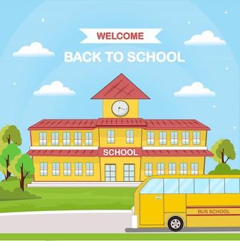 Volta para o transporte escolar ônibus escolar design plano.