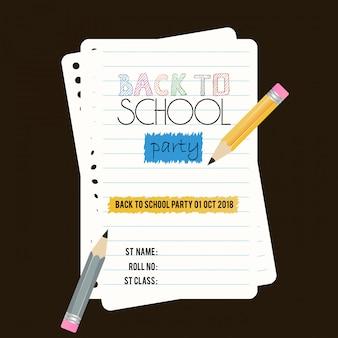Volta para o vetor de design de brochura da escola