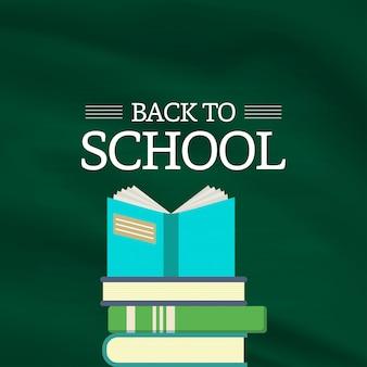 Volta para o vetor de elemento de projeto de escola com fundo verde