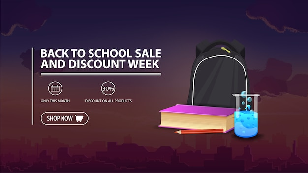 Volta para venda de escola e semana de desconto, banner de desconto com a cidade no fundo