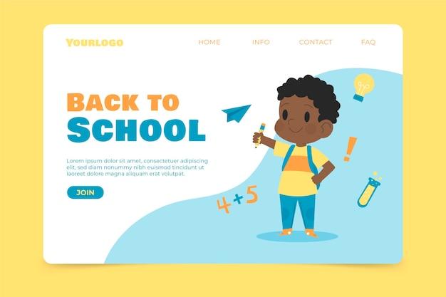 Voltar à escola com a página de destino infantil