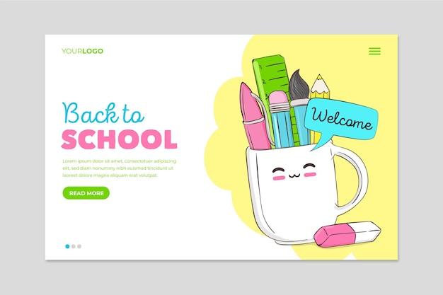 Voltar à escola com a página inicial dos itens de papelaria