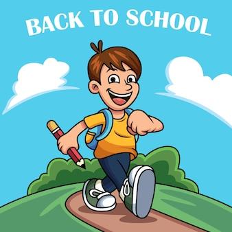 Voltar à ilustração do ícone da escola. conceito de ícone de criança com expressão engraçada