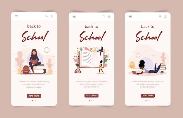 Voltar à página inicial da escola conceito. pessoas com livros e laptop. alunos inteligentes. personagem de desenho animado de mulheres. conjunto de modelos de móveis. ilustração moderna em estilo simples.