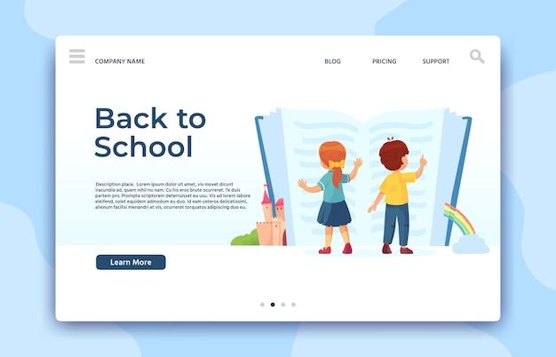 Voltar à página inicial da escola. página de educação e estudo, crianças lendo um livro