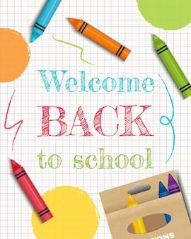 Voltar ao banner da escola com giz de cera no caderno de papel. ilustração vetorial isolada