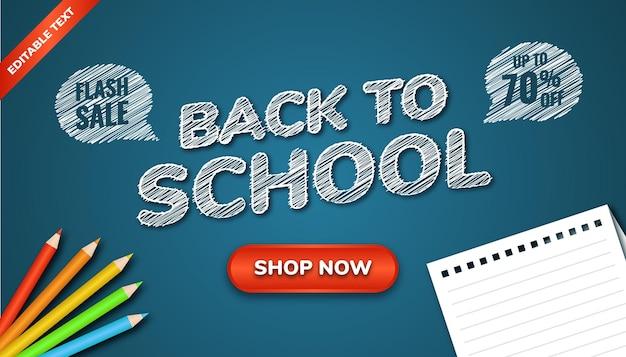Voltar ao banner de venda flash de escola com placa azul de ilustração, cor de lápis e papel. efeito de texto editável.