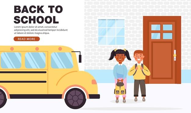 Voltar ao banner do conceito de escola com espaço de cópia.