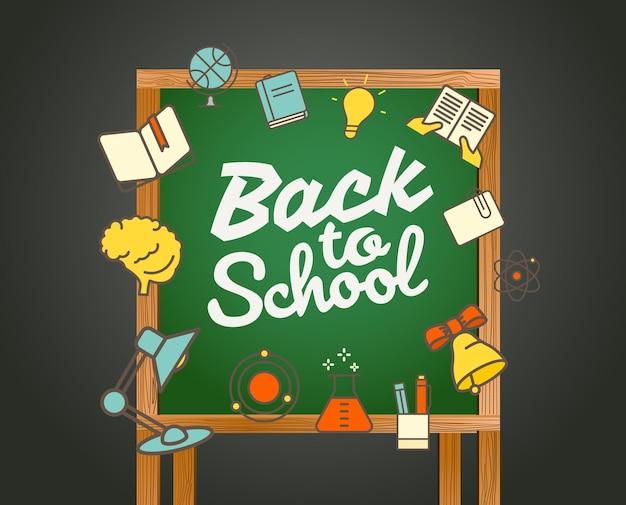 Voltar ao cartão da escola. ilustração caligráfica do vetor de volta às aulas