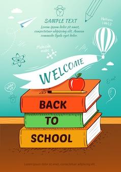 Voltar ao cartaz da escola, plano de fundo de educação. ilustração