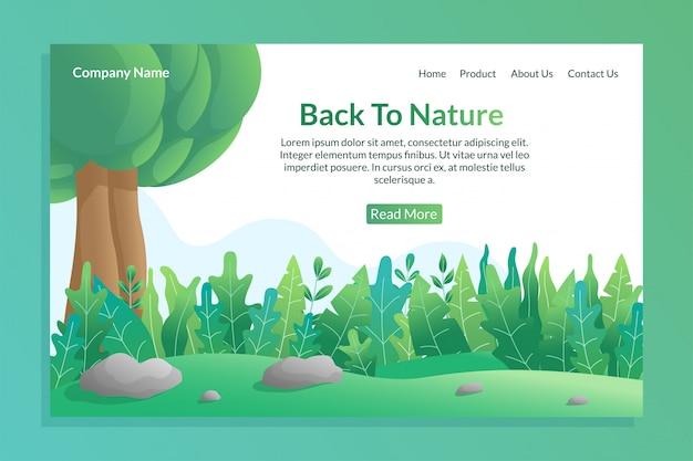 Voltar ao conceito de natureza para o modelo de página de destino com ilustração colorida da natureza