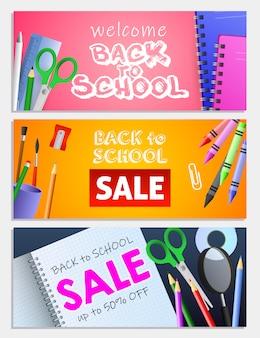Voltar ao conjunto de inscrições de venda de escola, tesoura, lápis, cadernos