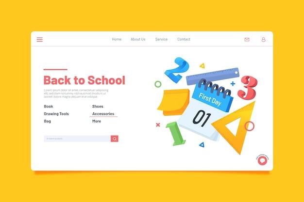 Voltar ao design da página de destino da escola