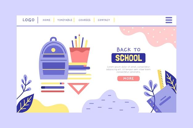 Voltar ao design plano da página de destino da escola