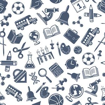 Voltar ao padrão escolar. plano de fundo transparente com símbolos de scince e escola.