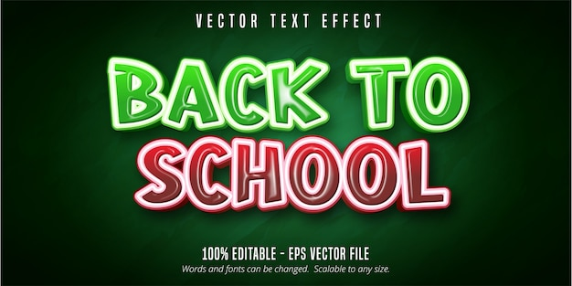 Voltar ao texto da escola, efeito de texto editável de estilo de educação