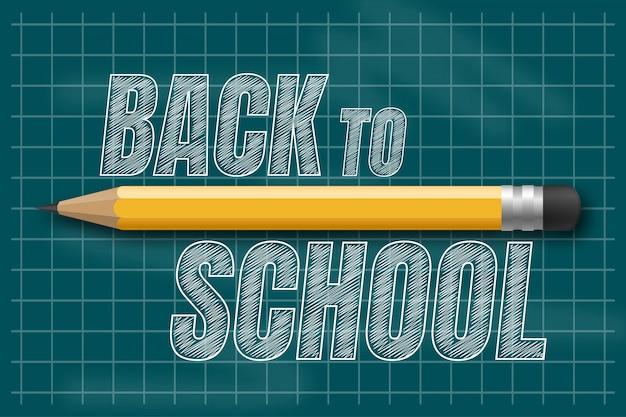 Voltar ao texto de escola desenho a giz branco no quadro-negro com elementos e itens de escola.