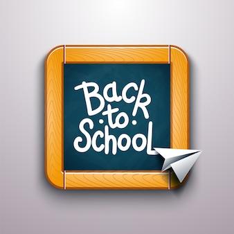 Voltar ao texto de escola desenho de giz colorido no quadro-negro com o avião de papel.