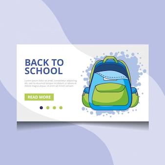 Voltar ao vetor de página de destino de escola
