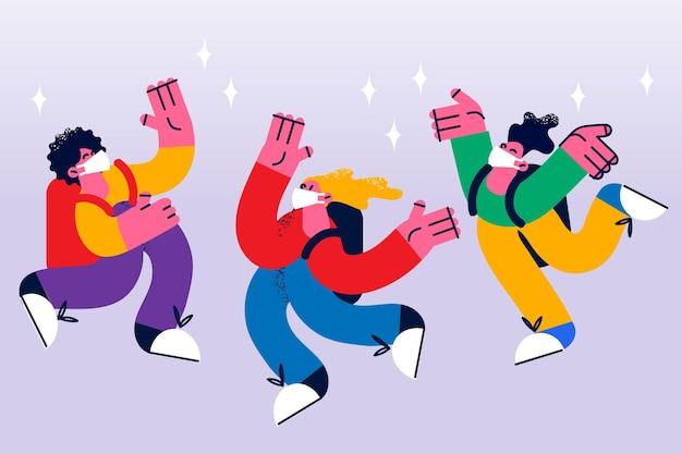 Voltar às aulas e aprender durante o conceito de epidemia. grupo de alunos pulando felizes, alunos usando máscaras protetoras médicas, estudando em tempos de pandemia de coronavírus, ilustração vetorial