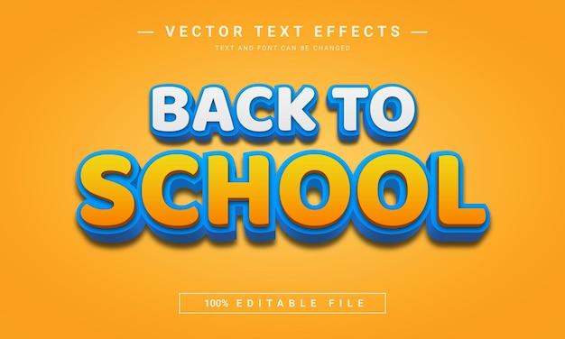 Voltar às aulas efeito de texto editável em 3d