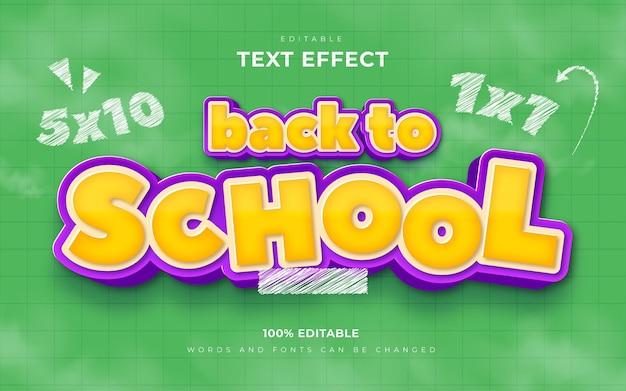 Voltar às aulas efeitos de texto 3d