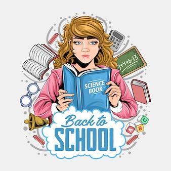 Voltar às meninas da escola que lêem livros ao redor de arte de equipamento escolar
