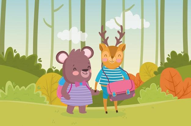 Voltar para a educação escolar urso e veado com mochila