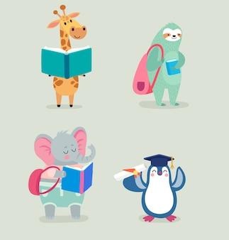 Voltar para a escola animais mão desenhada estilo, tema de educação. personagens fofinhos.