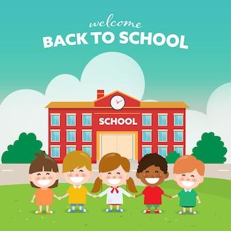 Voltar para a escola childrend com amigos.