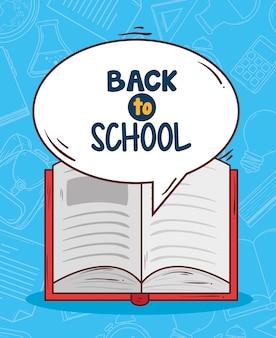 Voltar para a escola com design de ilustração vetorial de livro aberto